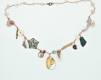Curio Cabinet on a Charm Necklace with Cicada Wing Centerpiece and Rose Quartz Beads