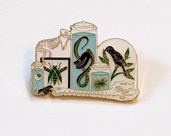 Cabinet of Curiosities Enamel Pin with Bird