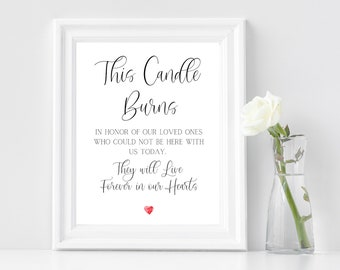 """This Candle Burns In Loving Memory, Wedding Printable Sign, Wedding Memorial Sign, Wedding Memorial Table, Rememberance Sign, 8""""x 10"""""""