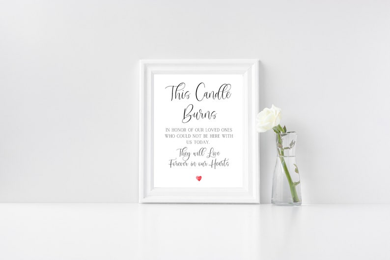 This Candle Burns In Loving Memory Wedding Printable Sign image 0