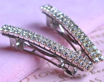 Wedding Hair Barrette, Wedding Hair Accessories, Simple Glam Swarovski Crystals, Set of 2