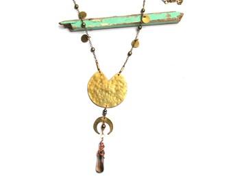 Rising Moon Brass and Gray Quartz Necklace (P3242B)