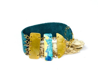 Brass and Teal Leather Ocean Bracelet (B1524)