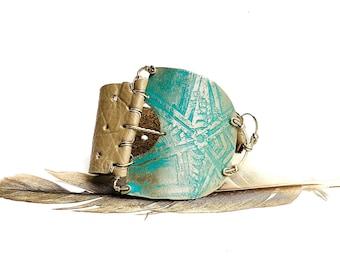 Silver Tribal Khaki Leather Bracelet