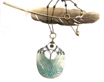 Tribal Etched Silver Shield Necklace (P3241)