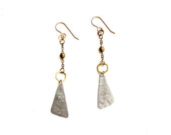 Mixed Metal Triangle Earrings (E1482S)