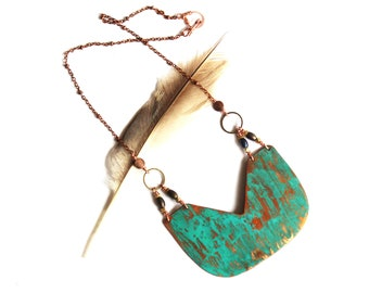 Copper Crescent Shield and Patina Necklace (P3019)