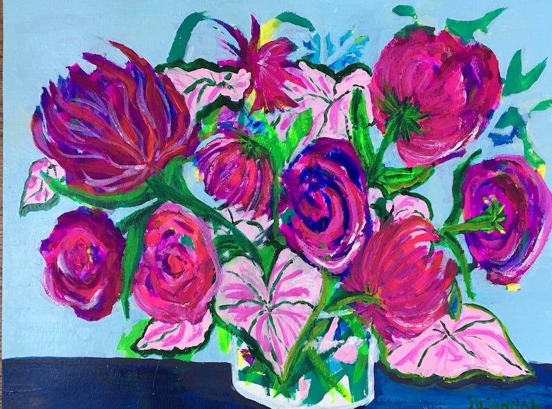 Roses With Caladium Original Acrylic Painting on Paper 100 image 0