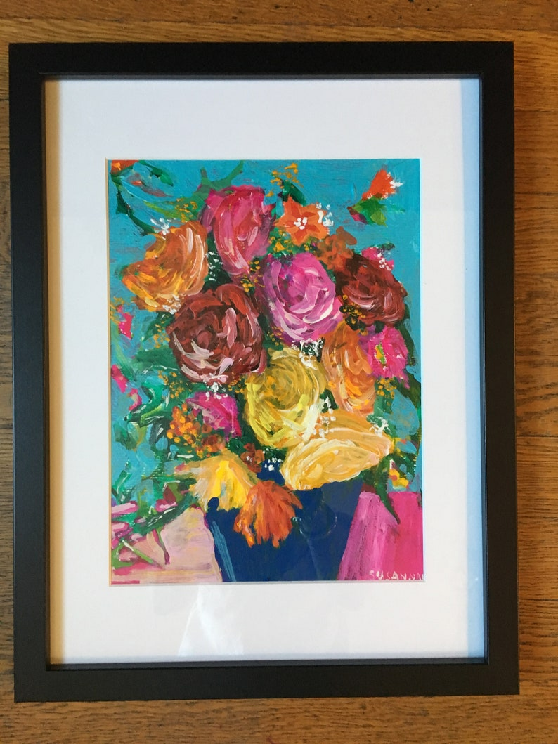 Mostly Roses Original Acrylic Painting 100 Flowers in 100 Days image 1