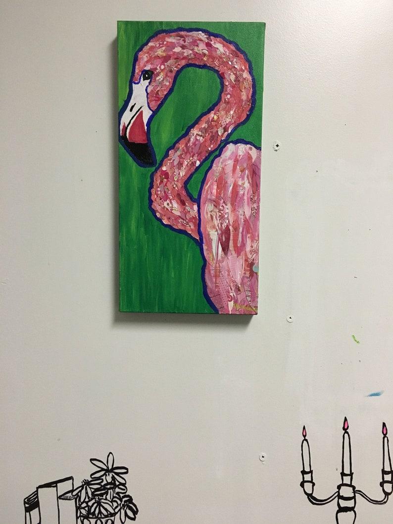 Preppy Flamingo Original Collage Painting image 0