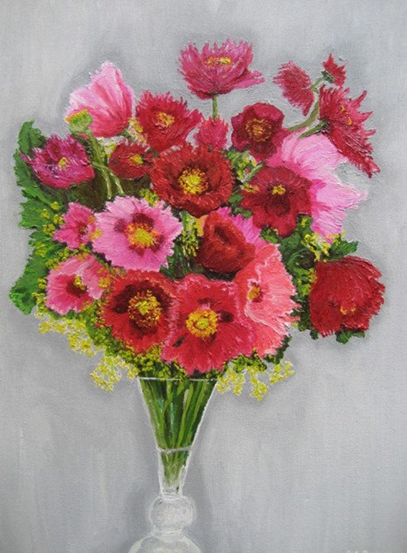 Vase of Red and Pink Poppies Original Oil Painting image 0