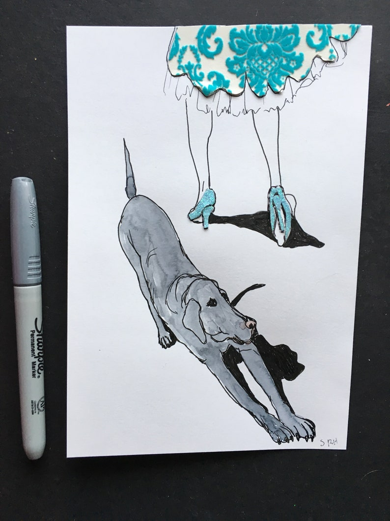 Girl in Fancy Dress and Grey Dog Illustration Ink Drawing image 1