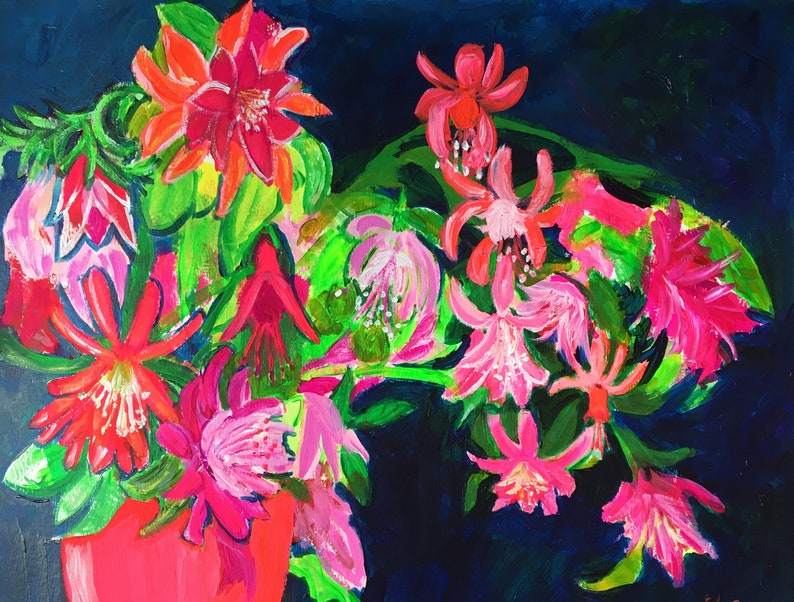 Florida Original Acrylic Painting on Paper 100 Flowers in 100 image 0