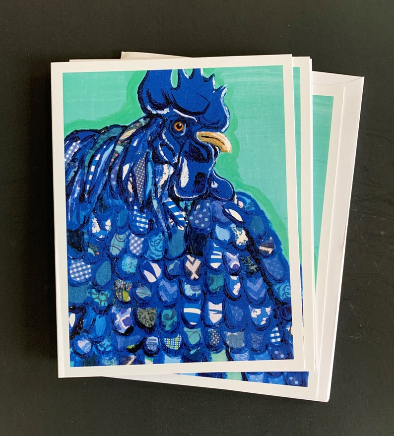 Blue Hen on Mint  Notecard Set From Original Painting Collage image 1