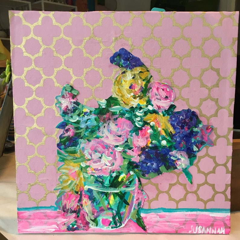 Soft Arrangement on Pink and Gold Original Acrylic Painting image 0