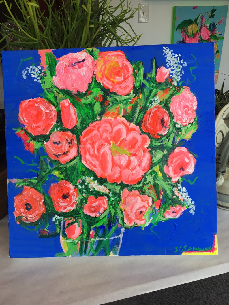 Peach  Periwinkle Blue or Purple Original Acrylic Painting image 0