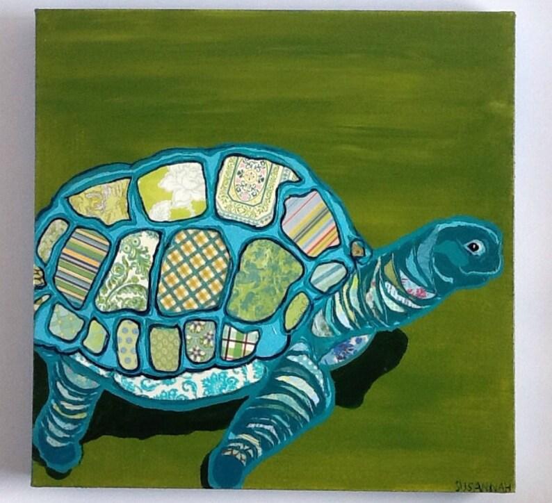 Blue Turtle Original Paper Collage Painting image 0