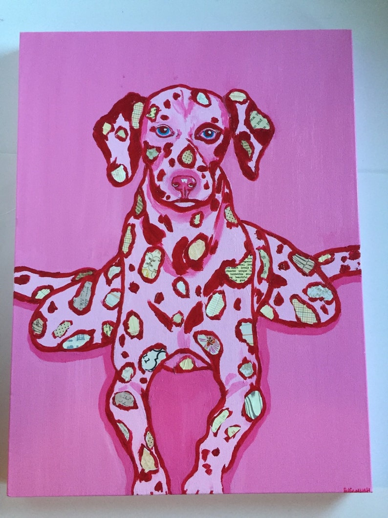 Frog Dog Original Painting Collage Pink Dalmatian image 0