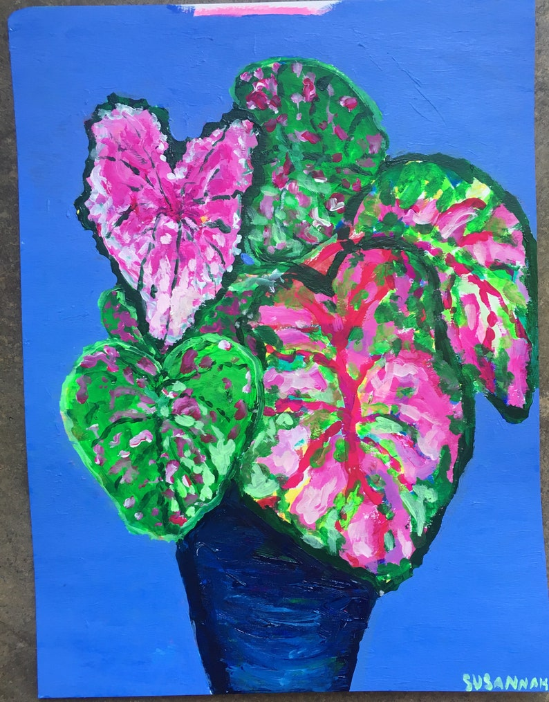 Triple Caladium Original Acrylic Painting on Paper 100 Flowers image 1