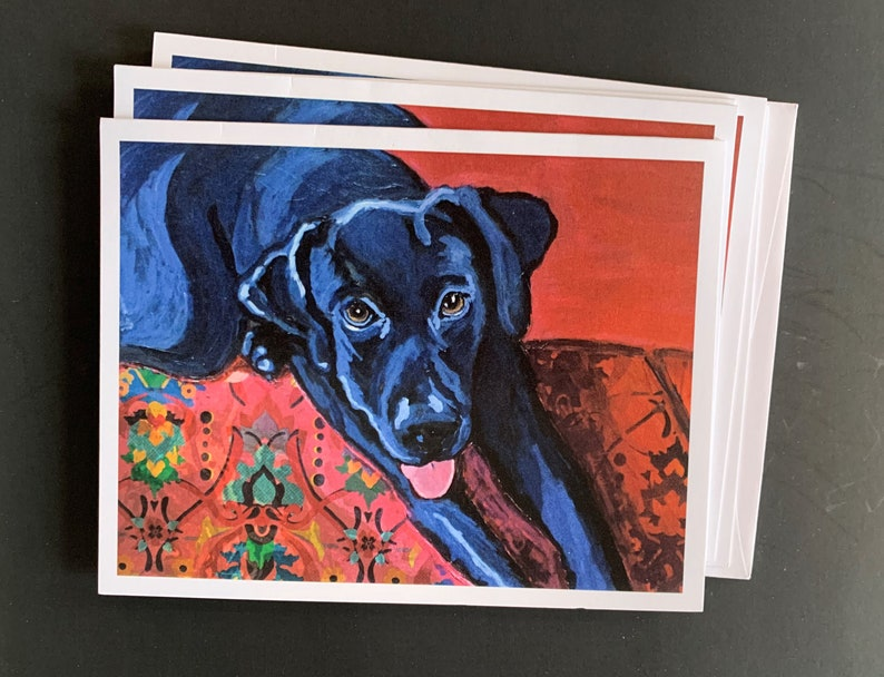 Black Lab on Couch Notecard Set From Original Painting Collage image 0