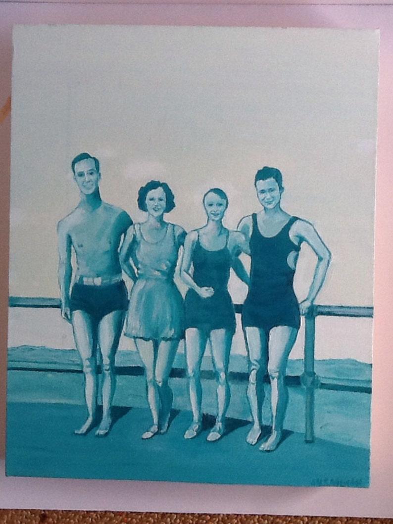 Va Beach 1934 Vintage Monochromatic Oil Painting image 0