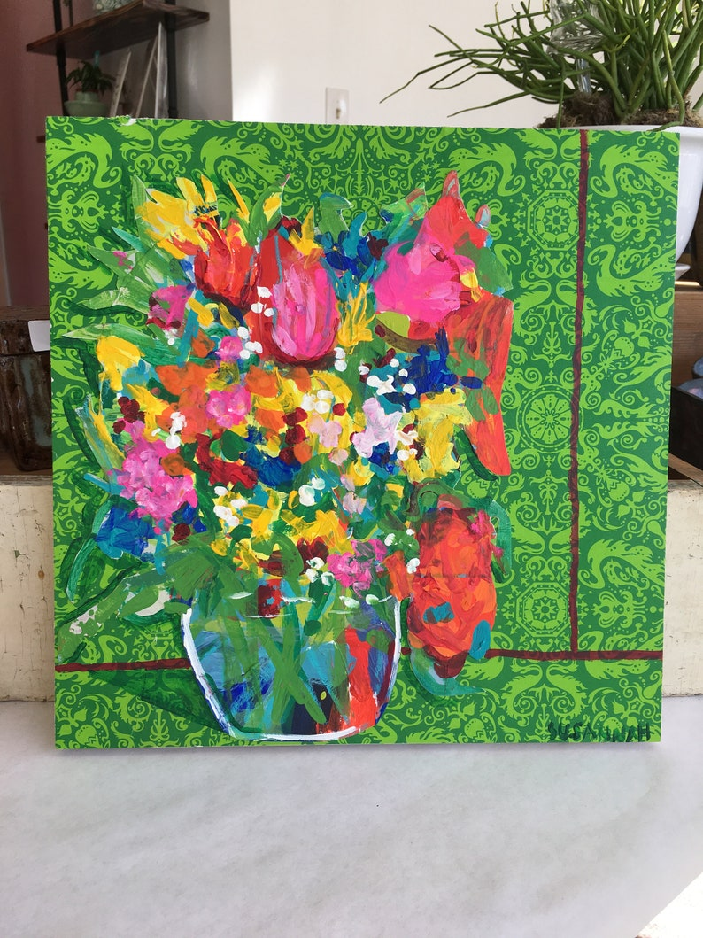 Estate Sale Original Acrylic Painting 100 Flowers in 100 Days image 1