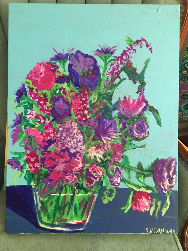 Purple Frenzy Original Acrylic Painting 100 Flowers in 100 image 0