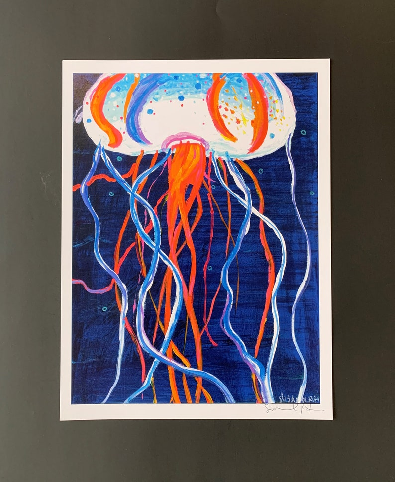 Down Deep Blue and Orange Jellyfish Limited Edition Print from image 0