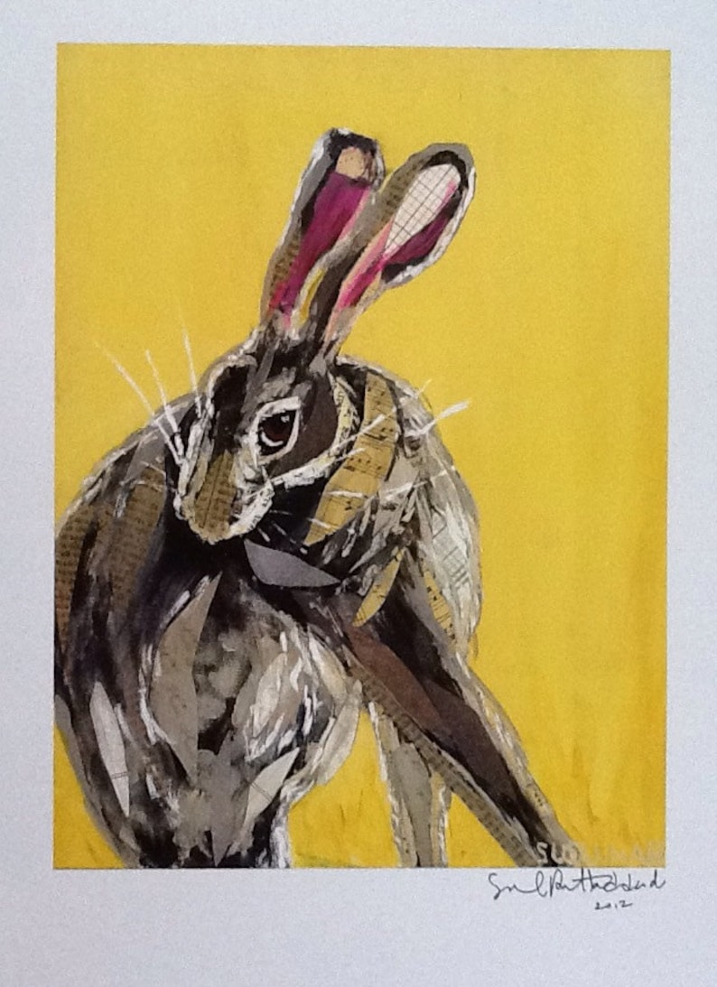 Coy Bunny on Sunny Yellow Limited Edition Print from Original Painting  Collage nOW 15