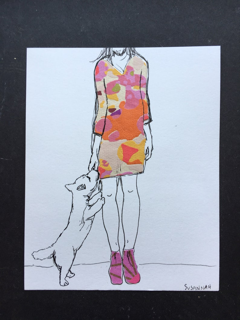 Girl in Colorful Dress and Dog Illustration Ink Drawing image 1