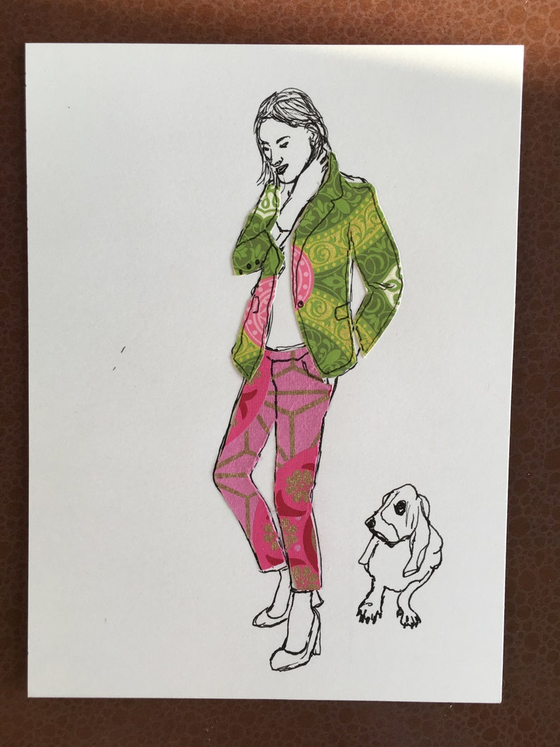 Girl with Basset Ink Drawing Collage With Patterned Paper image 0