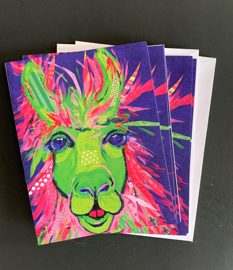 Tricolored Llama Notecard Set From Original Painting Collage image 0