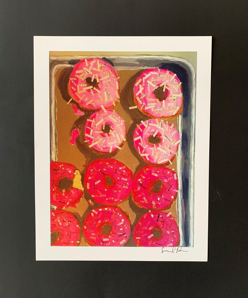 Pink Doughnuts Limited Edition Print From Original Collage image 0