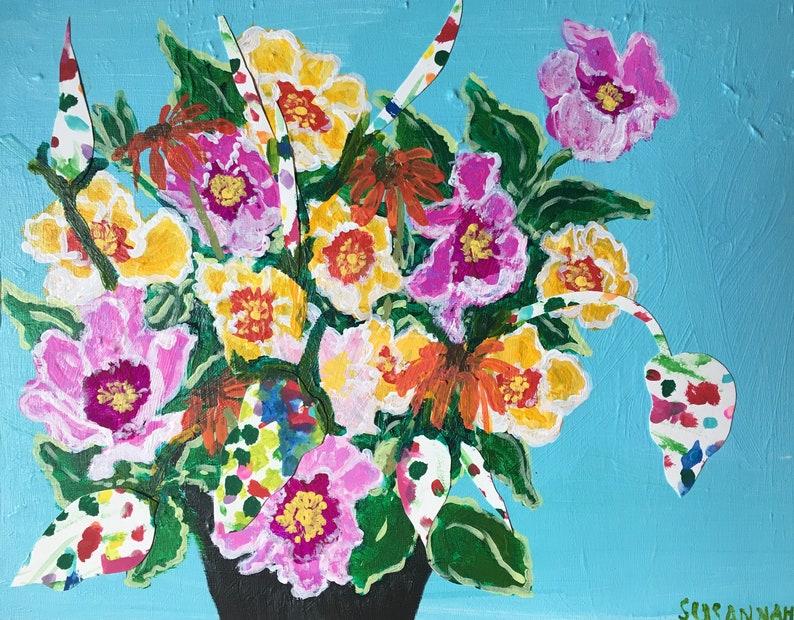Orange Echinachea Original Acrylic Painting 100 Flowers in 100 image 0