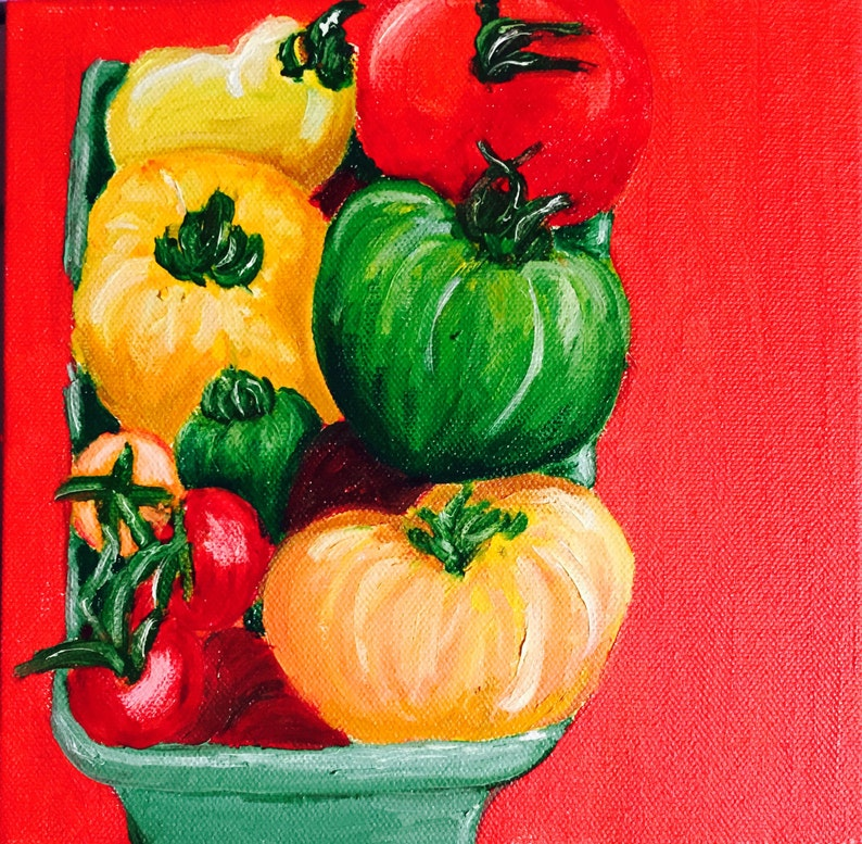 Farmers Market Tomatoes Original Oil Painting Daily Painting image 0