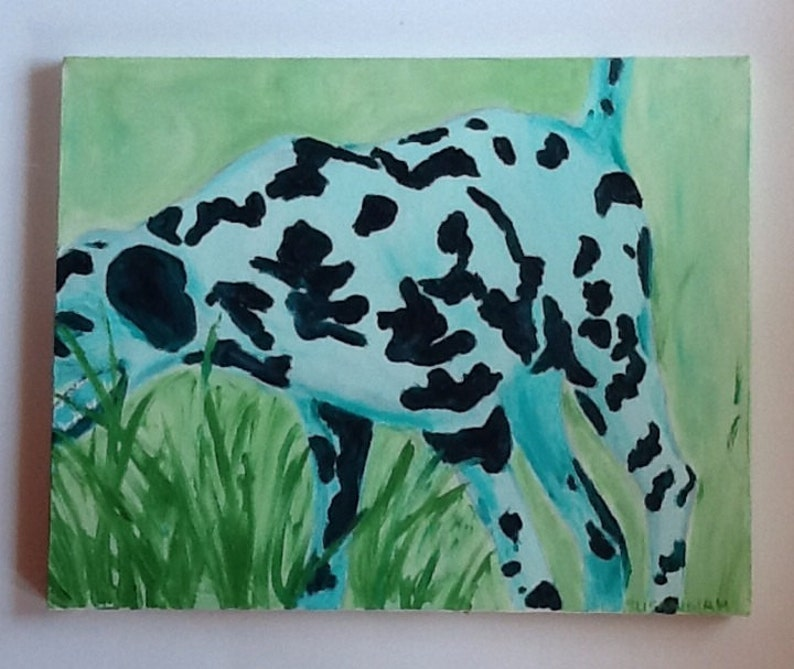 Green Dalmatian In Motion Oil Painting image 0