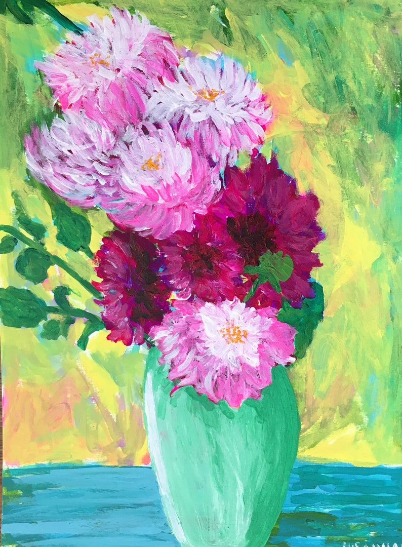 Pastel Arrangement Original Acrylic Painting 100 Flowers in image 0