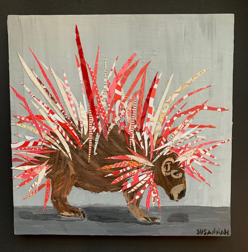Red and White Porcupine Original Painting Collage Acrylic and image 0