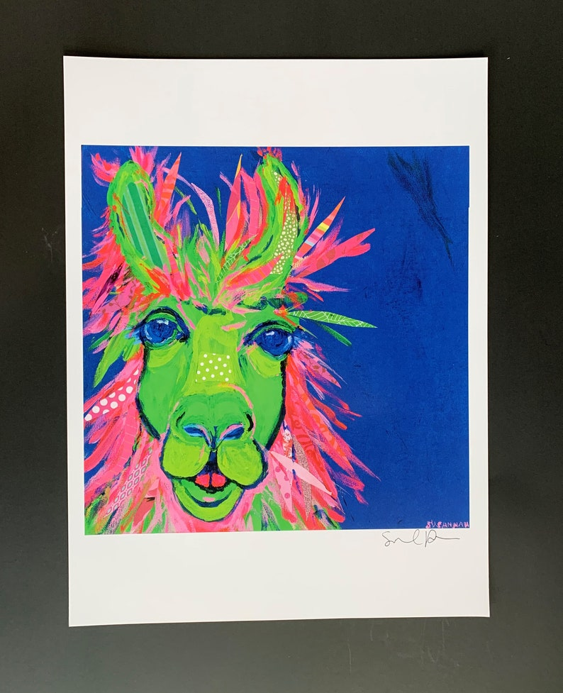 Tricolor LLama Limited Edition Print from Original Painting image 0