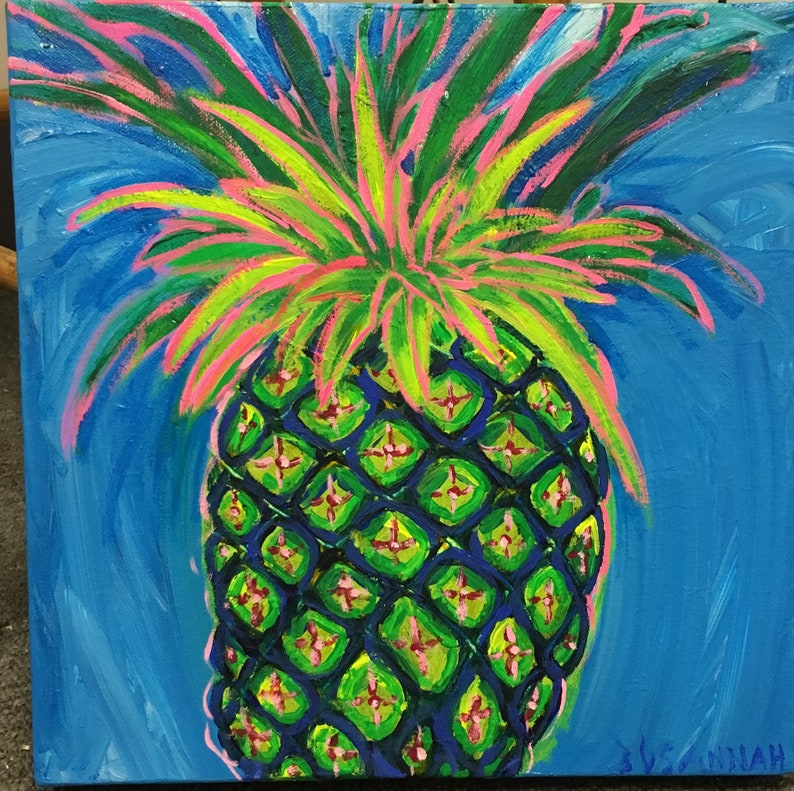 Truly Happy Pineapple Original Acrylic Painting image 0