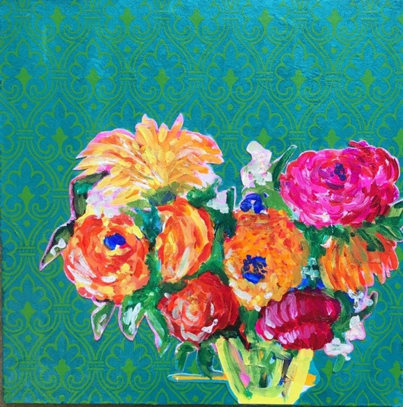 From India Original Acrylic Painting 100 Flowers in 100 Days image 1