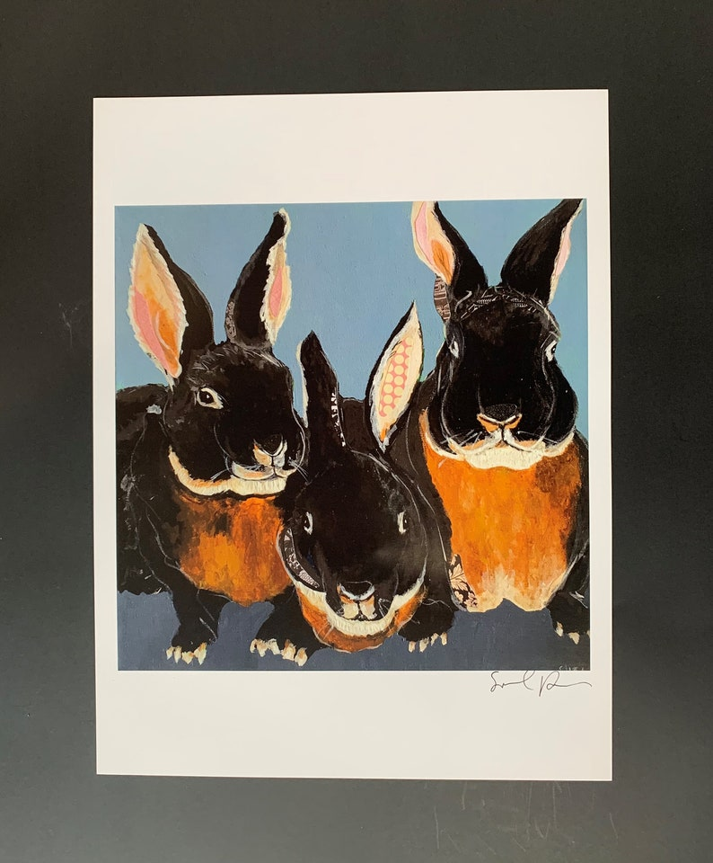 Black Velvet Bunnies Digital Print From Original Collage image 0