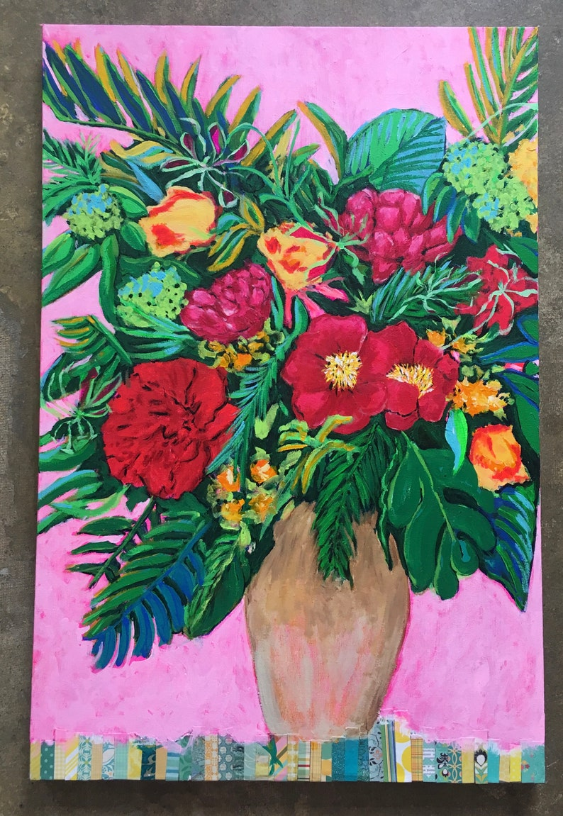 Austin Tropical Original Acrylic Painting 100 Flowers in 100 image 0