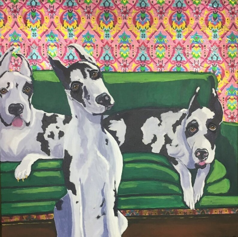 Three Danes on Green Couch Original Painting Collage image 0