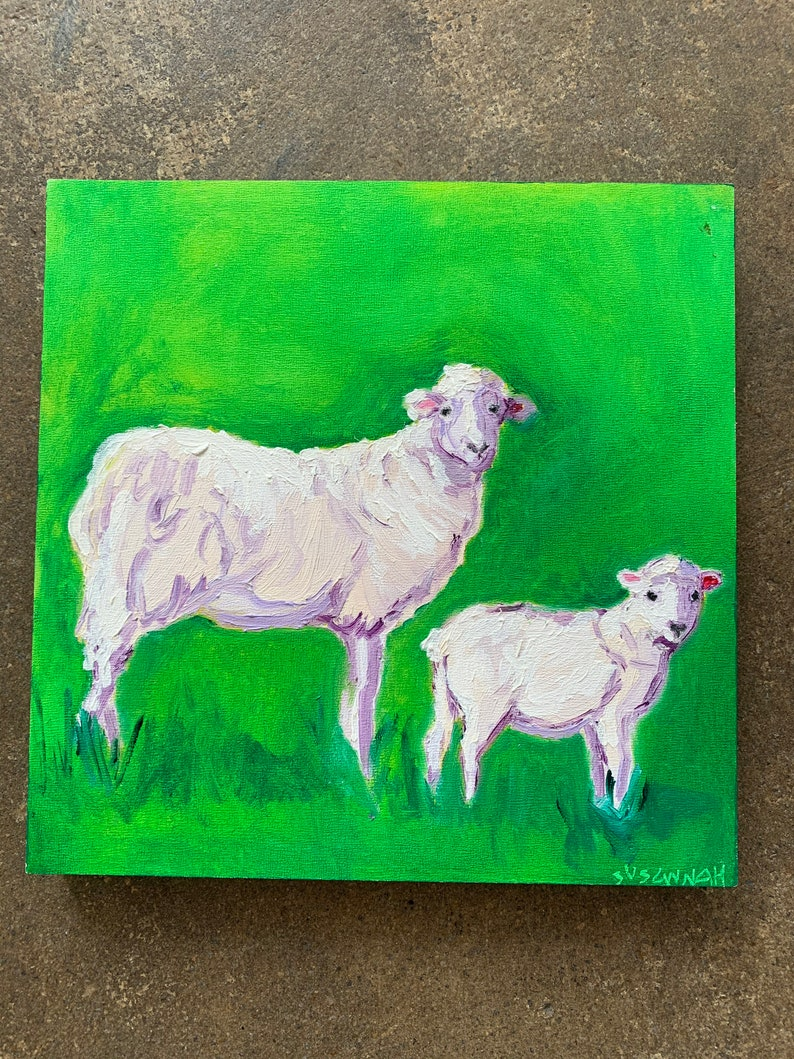 Sheep Family In Profile Original Oil Painting image 0