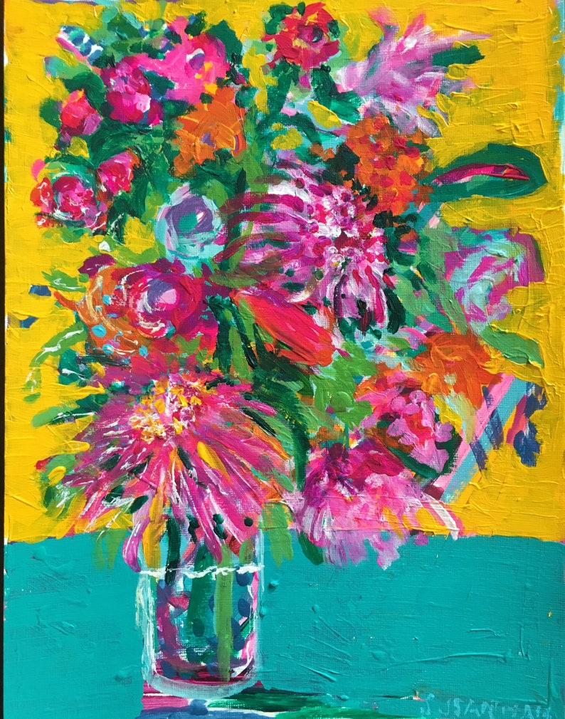 Number 41 Original Acrylic Painting 100 Flowers in 100 Days 41 image 0