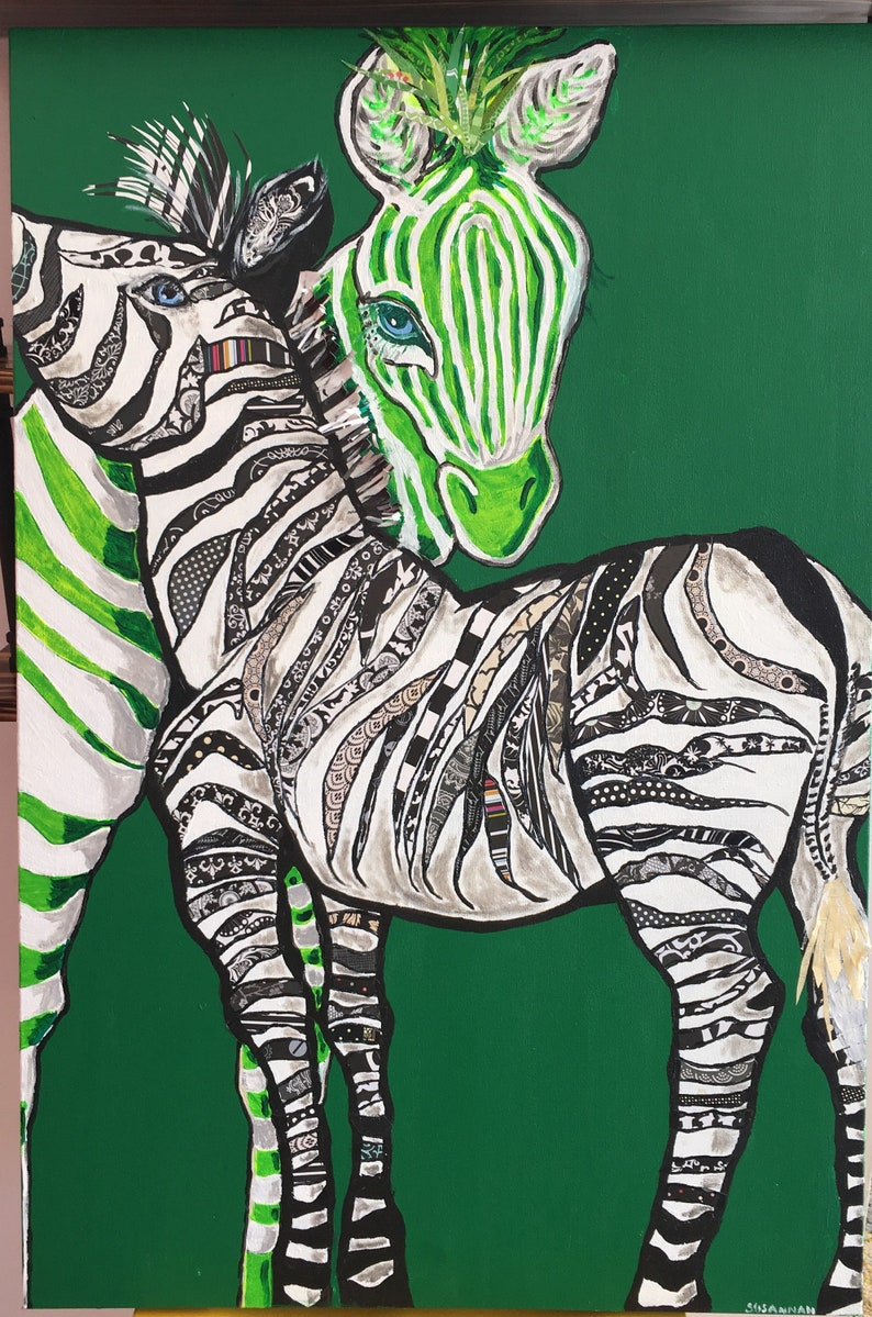 Original Animal Collage Patterned Zebras on Lime Green Animal image 0