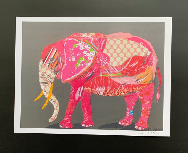 Pink Elephant Collage Limited Edition Print from Original image 0