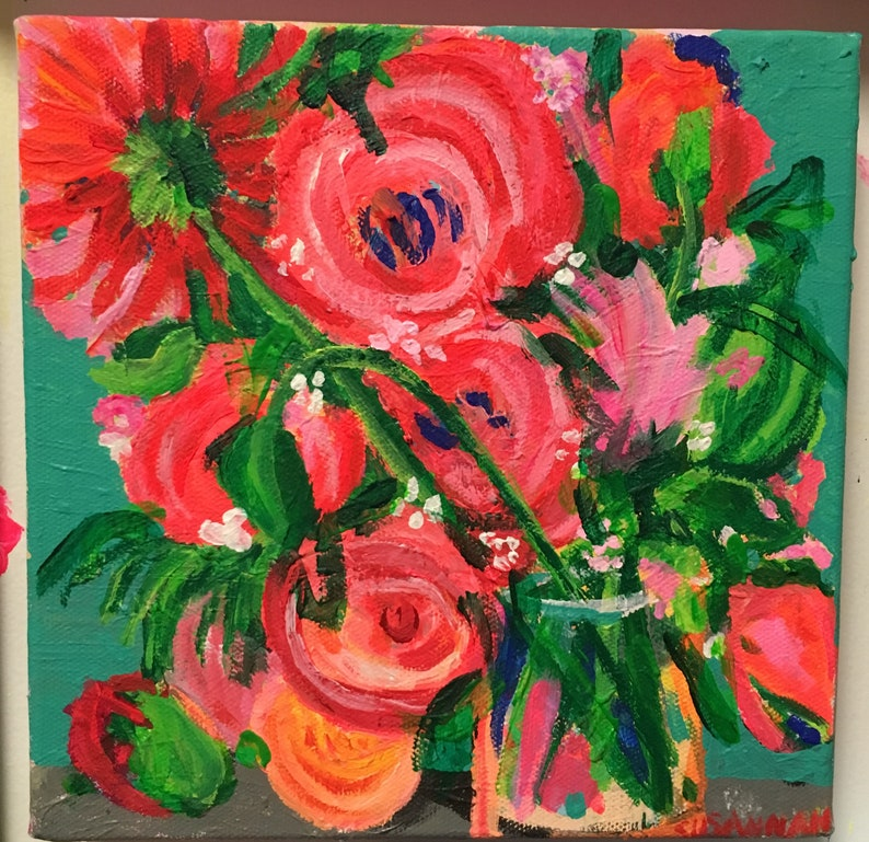Watermelon Pink Original Acrylic Painting 100 Flowers in 100 image 0