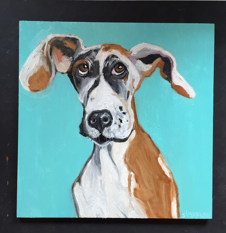 Perky Eared Dog Original Oil Painting image 0